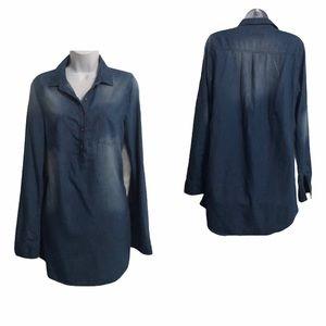 Sans Souci Chambray Denim Shirt Dress EUC